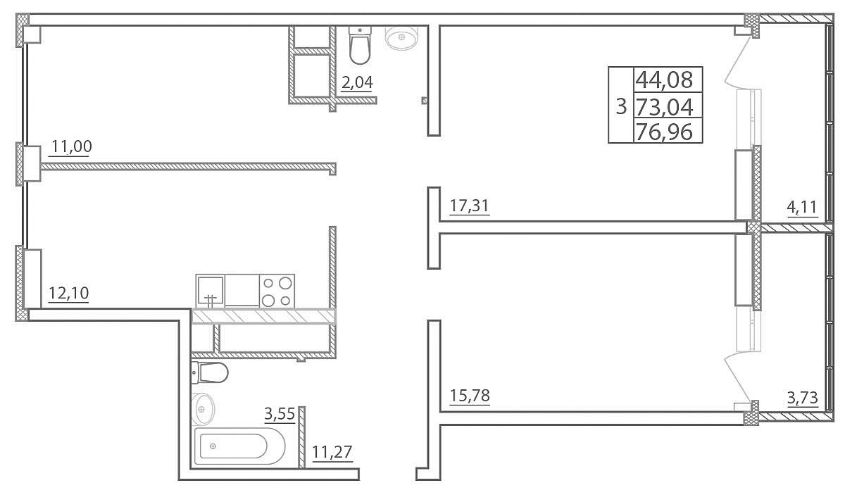 Планировка Трёхкомнатная квартира площадью 76.96 кв.м в ЖК «Северная палитра»