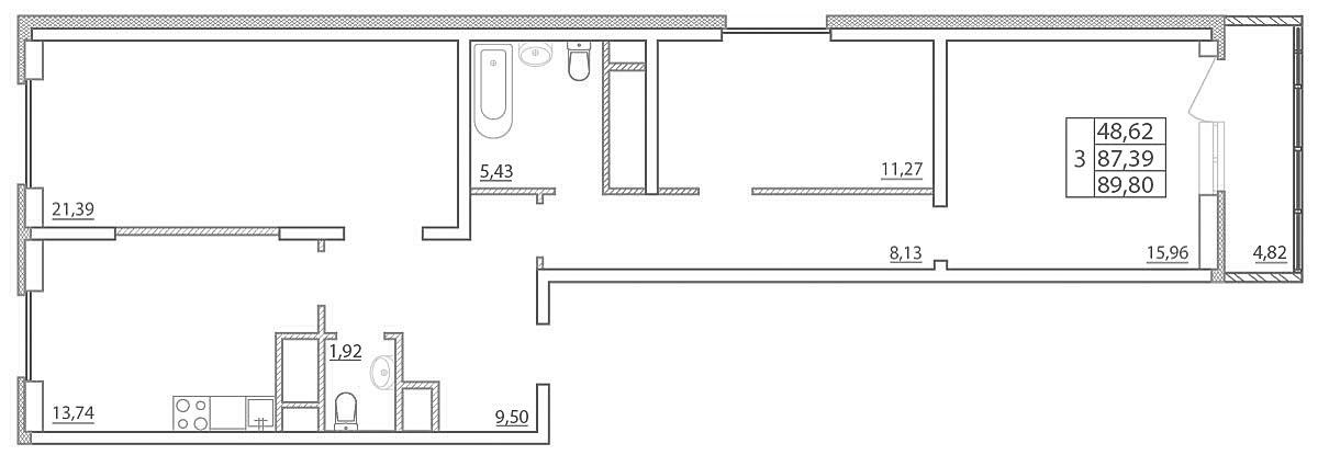 Планировка Трёхкомнатная квартира площадью 89.8 кв.м в ЖК «Северная палитра»