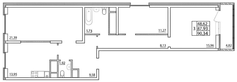 Планировка Трёхкомнатная квартира площадью 90.34 кв.м в ЖК «Северная палитра»
